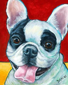 French Bulldog On Red Painting by Dottie Dracos
