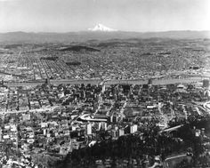 A2001-007.478 CofC aerial of downtown Portland east to Mt Hood c1969