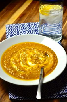Curried Sweet Potato & Quinoa Soup from ReluctantEntertainer.com