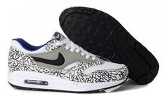 Air Max 1 Nike Running Shoes White Grey Royal Blue Black
