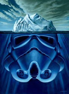 A surreal piece about what lies below the tip of an iceberg.....the photos I've seen on the subject are amazing. But what if what lies below is even more surprising?  I also wanted to incorporate some pop culture reference, and Star Wars is my favorite.