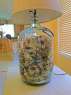 Want to make a lamp with a large jar bottom that I can change the insides with the seasons or festivities. Sea Glass Beach, Sea Glass Art, Large Glass Jars, Make A Lamp, Seaside Decor, Sea Glass Crafts, Beach Crafts, Stone Art, Decoration
