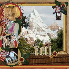 Beware Of The Yeti - MouseScrappers - Disney Scrapbooking Gallery Love Scrapbook, Scrapbook Background, Disney Scrapbook Pages, Travel Scrapbook, Scrapbooking Layouts, Walt Disney World Vacations, Christmas Scrapbook, Creative Memories, Disney Crafts