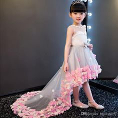 Shop affordable Sleeveless Pearl Neckline High Low Tulle Dress With Flowers at June Bridals! Over 8000 Chic wedding, bridesmaid, prom dresses & more are on hot sale. Party Wear Dresses, Girls Party Dress, Little Girl Dresses, Girls Dresses, Baby Dresses, Kids Winter Fashion, Kids Fashion, Kids Gown, Kids Party Wear