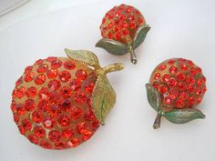Orange Forbidden Fruit Brooch Earrings Lucite Rhinestone