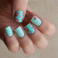 Vintage roses, polka dots, stripes mani! I love shabby patterns on mint :)