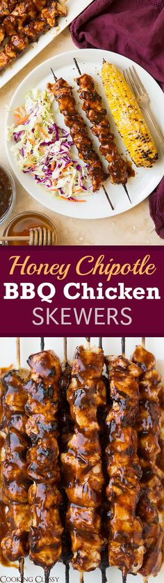 Honey Chipotle BBQ Chicken Skewers - SO easy and they are the perfect main to a summer meal! Flavorful and delicious!