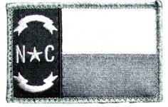 """[Single Count] Custom, Cool & Awesome {3"""" by 2"""" Inches} US Military Armed Forces North Carolina State Flag Badge (Tactical Type) Velcro Patch """"White, Gray & Black"""""""