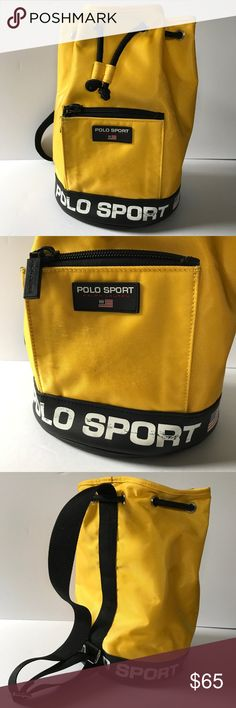 "Vintage Polo Sport Ralph Lauren Yellow Bag This is a vintage, yellow, Polo Sport by Ralph Lauren, single strap backpack/bag.  It is in good used condition, especially considering its age.  There is come cracking of the logo on the front of the bag as well as some fuzzy wear on the front pocket from use.  There are a few ""crinkle"" marks on the fabric.  Inside is in great condition.  Diameter is about 9 inches, circumference about 28.5.  Top to bottom length is just under 13 inches.  No fabric…"