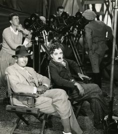Douglas Fairbanks & Charles Chaplin on the set of The Gold Rush (1925, dir. Charles Chaplin)
