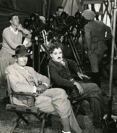 Douglas Fairbanks & Charles Chaplin on the set of The Gold Rush (1925, dir. Charles Chaplin)