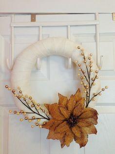 Burlap Poinsettia and Berry Wreath by HuntingtonLove on Etsy, $38.00