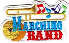 """[Single Count] Custom and Unique (2 1/2"""" x 1 1/2"""") Music Marching Band Instruments Iron On Embroidered Applique Patch {White, Yellow, Blue, and Red Colors} myLife Brand Products http://www.amazon.com/dp/B011CZ9C9Q/ref=cm_sw_r_pi_dp_fxAPvb1TG3Y5V"""
