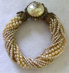 Vintage Miriam Haskell Multi Strand Seed Pearl Bracelet.