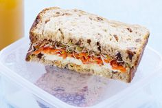 Stuck for lunch box ideas? Try this Carrot, honey & raisin sandwich for a tasty midday meal.