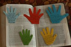 Pick a Scripture to pray over each child. Trace and laminate their handprints (with verse written on it) to use as Bible bookmark for yourself.