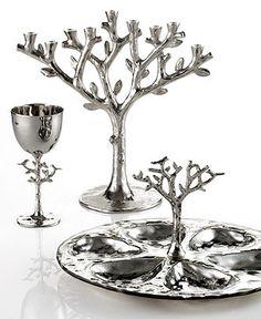 Michael Aram - 'Tree of Life' Collection - Judaica Collection: Menorah, Seder Plate, Kiddush Cup Fake Wedding Cakes, Arte Judaica, Hanukkah Decorations, Hanukkah Lights, Diy Clothes Rack, Kiddush Cup, Baroque Decor, Hannukah, Festival Lights