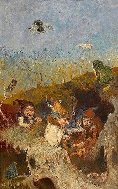 Heinrich Schlitt (German, 1849-1923) The gnomes' soup 14 1/4 x 9 1/4in (36.2 x 23.5cm)