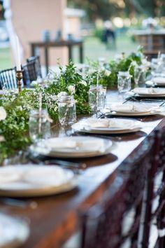 Long Table Greenery Centerpieces | Kaitlin Poirier Photography