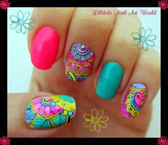 Truly amazing tropical colors nail art Lillibit´s Nail Art World: Tropical Leadlight--good god. Cute Nail Art, Cute Nails, Pretty Nails, Spring Nails, Summer Nails, Nail Art Designs, Nails Design, Mandala Nails, Stamping Nail Art