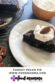 Fudgey, nutty and rich - the perfect pie to indulge. Enjoy it for Pie Day! Corn Syrup, Pecan, Cocoa, Pie, Desserts, Recipes, Torte, Tailgate Desserts, Cake