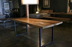 Greenly Live Edge Reclaimed Wood Table with Metal Legs by Croft House Dining Room Table Legs, Wooden Dining Tables, Dining Room Furniture, House Furniture, Communal Table, Dining Rooms, Banquette Table, Office Furniture, Wood Furniture