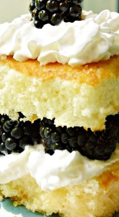 Hot Milk Cake with Blackberries & Cream
