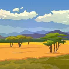 Savannah with Mountains Background by mikalaimanyshau Vector illustration on themes: nature of Africa, safari, noon in Savannah, hunting, camping, trip. African landscape Modern flat d