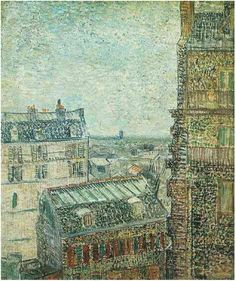 View of Paris from Vincent's Room in the Rue Lepic.  Van Gogh. Spring 1887. Paris. Oil on canvas. 46 x 38 cm. Rijksmuseum Vincent van Gogh. Amsterdam.