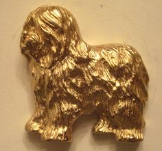VINTAGE Gold Plated Old English Sheepdog Dog Lover Lapel Pin BEAUTIFUL QUALITY - Pins, Brooches