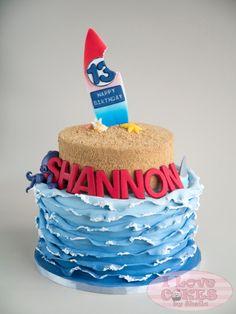 i love cakes by sheila Luau Cakes, Ocean Cakes, Beach Cakes, Party Cakes, Fondant Cakes, Cupcake Cakes, Cupcakes, Surfer Cake, Surfboard Cake