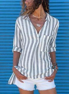2019 New Trend Women's Fashion Long Sleeve Shirts Casual Striped Blouses Plus Size Tops Plus Size Blouses, Plus Size Tops, Short Sleeve Blouse, Long Sleeve, Collar Blouse, Lace Collar, Striped Linen, Shirt Blouses, Cotton Blouses