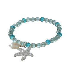 Wholesale turquoise mint beaded stretch bracelet silver accents filigree starfis