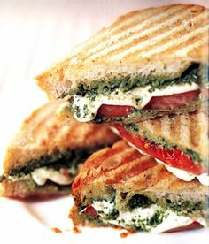 Tomato, Mozzarella & Pesto Panini II **UPDATE!! Made a version of this by adding chicken, using monterrey cheese instead of mozzarella & using fire-roasted tomato pesto!!! Holy Cow!! AMAZING!! :)
