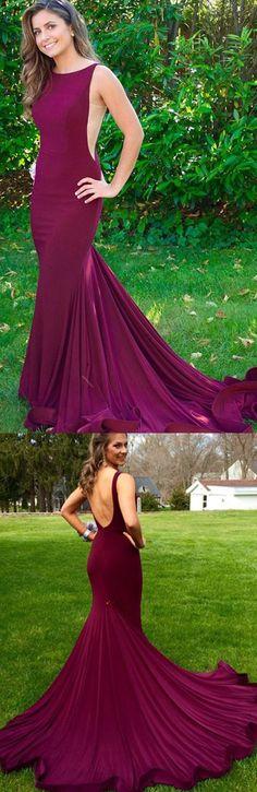 mermaid long prom dress 2017 with train, Purple long prom dress open back prom dress, evening dress, party dress backless
