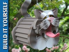 Cat Birdhouse 3-Page Plan with Templates