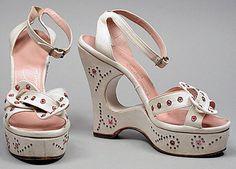 Sandales Plateforme - Cuir Blanc et Strass - Années 40