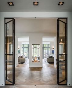 Gas fireplace Sky T from & Take a look around a Victorian house | Double french doors House ...