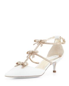 Crystal Bow-Embellished Karung Low-Heel Pump, White/Gold by Rene Caovilla at Bergdorf Goodman.