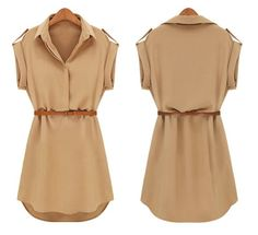 New Fashion Women's Cap Sleeve Stretch Chiffon Casual Shirt Mini Dress With Belt