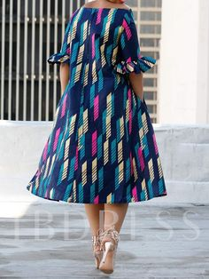 African Fashion Half Sleeve Off Shoulder Stripe Women's Maxi Dress
