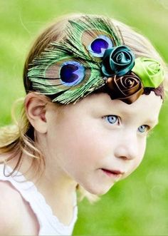 Baby Headband great for your next photoshoot Triple Rose Floral Peacock Feather Baby Prop Headband