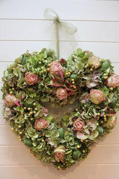 Pretty hydrangea floral heart
