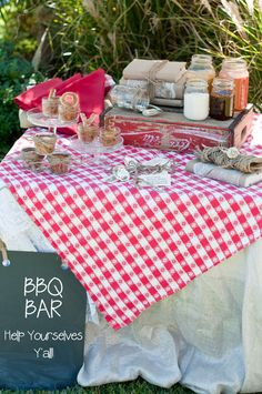 BBQ Bar for a wedding! I had BBQ sliders wish I would have thought of this!