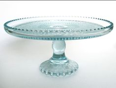 1950s Ice Blue Glass Harp Pattern Pedestal Cake Stand