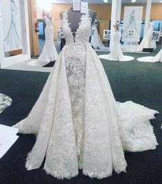 A-line Luxury Full Lace V Neck Long Train Wedding Dress,Detachable Skirt Wedding Dress,
