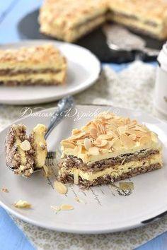 Szwedzki tort migdałowy Polish Desserts, Polish Recipes, Lemon Cheesecake Recipes, Vegan Junk Food, Almond Cakes, Creative Cakes, Sweet Recipes, Food Porn, Dessert Recipes