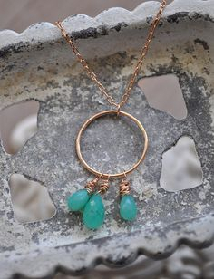 Rose and Chrysoprase by LFJewelryDesigns on Etsy, $56.00