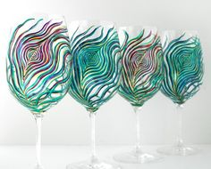 Regal Peacock Feather Wine Glasses  4 Piece by MaryElizabethArts, $120.00