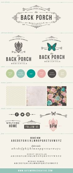 Logo and Branding Board for Back Porch Mercantile by ©Kate Moore Creative 2013. curated luxury goods shop in Knoxville, TN.  beautiful, collected, rough luxe, feminine ,southern, boho, high end, bold.